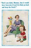 Baby Comes From The Stork Child Questioning Nature Story Comic Humour Postcard