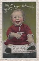 Baby Wearing Lipstick Blusher Old Greetings Real Photo Postcard