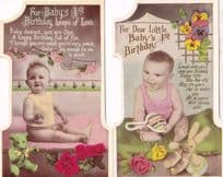 Babys First Birthday 2x Antique Teddy Bear Rabbit Real Photo Shaped Postcard s
