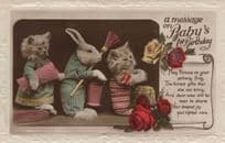 Babys First Birthday Cats Anamorphic Real Photo Old Postcard