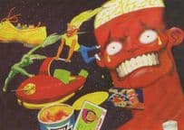 Baked Beans Attack Of The Titans Unique Comic Advertising Postcard