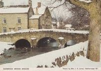 Barbrook Bridge Baslow at Christmas Snow Rare Derby Womens Institute Postcard