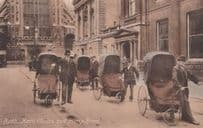 Bath Chairs at Pump Room Antique Giant Pushchair with Men Old Postcard