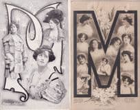 Big The Letter M Edwardian Actress 2x Old Postcard s