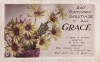 Birthday Greetings Dear Grace Antique Real Photo Name Postcard