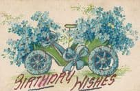 Blue Birthday Floral Cycle Floral Car REAL GLITTER ANTIQUE 3D STYLE Old Postcard