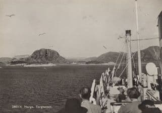 Boat Trip at Torghatten Norway Real Photo Postcard