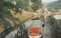 Boats Stationed at Llangolen Canal Welsh 1970s Postcard