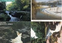 Bolton Abbey River Wharfe Christmas Snow Covered & The Strid 4x Postcard s