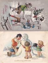 Bonne Anne Cute Snowman Children Making A 2x French Antique Postcard s