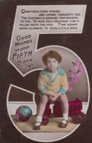 Boy Sits On Pink Train Football Antique Happy 5th Birthday Greetings Postcard