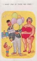 Boy Wants Red Balloons Of Ladies Breasts 1970s Comic Humour Balloon Postcard