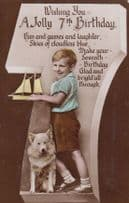 Boy with Toy Model Boat Dog Sea Cloudless Skies 7th Birthday Antique Postcard