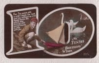 Boy With Toy Model Boat Swans Birds Greetings Antique Old 10th Birthday Postcard