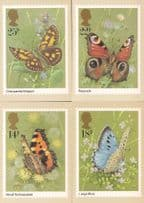 Butterfly PHQ Full Set Chequered Skipper Peacock 4x Postcard s