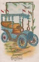 Car Covered In Blue Flower Flowers Mobile Old Greetings Happy Birthday Postcard
