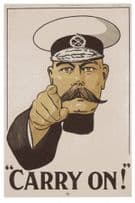 Carry On Field Marshall Kitchener WW1 Recruitment Poster Postcard