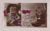 Cat Cats Baby Babys First 1st Birthday Shoes Present Greetings Antique Postcard