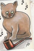 Cat Crying About Breaking Owners Smoking Pipe French Comic Postcard