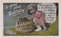Cats Caught In Fishing Basket Child With Fish Rod Cat Hat Antique Photo Postcard