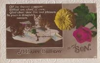 Cats Spill Spilled Ink All Over Card Antique Real Photo Sons Birthday Postcard