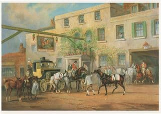 Charles Henderson Changing Horses To A Post Chaise Painting Postcard