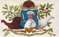 Chef with Carving Meat Knife Christmas Meat Turkey Postcard