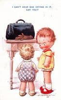 Child Hidden Crying In Suitcase Hostage D Tempest Antique Comic Humour Postcard