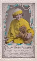 Child In Antique Victorian Yellow Wool Coat Hat Cuddling Toy Dog Animal Postcard