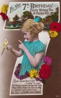 Child Playing With Budgie Bird 7th 7 BirthdayTalking To Animals Antique Postcard