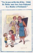 Child Politician Member Of Partliament Argueing At School Comic Humour Postcard