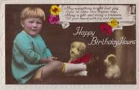 Child With Toy Dog Dogs Antique Happy Birthday Old RPC Postcard