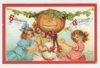 Children As Pagan Witch Circle Pumpkin Halloween Greetings Postcard