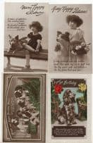 Children Girls & Dogs 4x Real Photo Old Greetings Postcard s