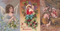 Christmas Angels 3D 3x Upmarket Antique Angel Postcard s