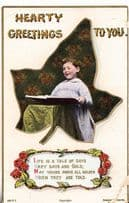 Christmas Hearty Greetings Church Altar Boy Page Singing Antique Hymnal Postcard