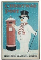 Christmas Post Snowman Poster Spreading Wishes Postcard