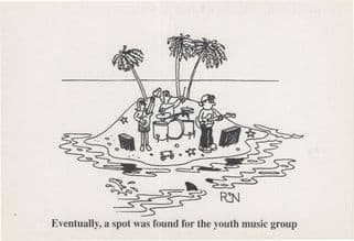 Church Youth Music Group Religious Comic Postcard