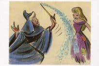 Cinderella & Wicked Witch Magic Wand Film Painting Storyboard Postcard