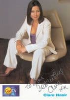 Claire Nasir GMTV Hand Signed Cast Card Photo & Reverse Message