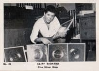 Cliff Richard Five Silver LP Discs Record Vintage Cigarette Photo Trading Card