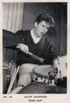 Cliff Richard Great Sfuff Playing Drums Cigarette Photo Vintage Trading Card