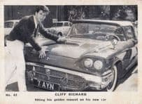 Cliff Richard With His Gold Mascot Classic Car Old Cigarette Photo Trading Card
