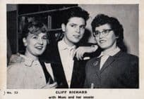 Cliff Richard With Mother & Cousin Rare Vintage Cigarette Photo Trading Card