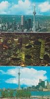 CN Tower Toronto Canada Canadian Postcard Aerial + Night Collection of Cards