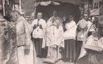 Corpus Christie Service Bishop Of Spain Spanish Religious RPC Old Postcard