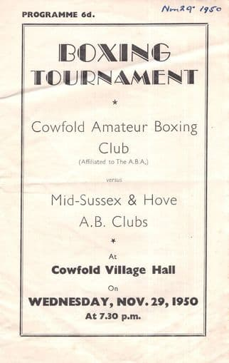 Cowfold Sussex Boxing Tournament 1950 Used Programme