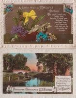 Daddys Birthday River Lake Little Wish 2x Antique Greetings Old Postcard
