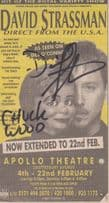 David Strassman Chuck Ventriloquist Theatre Show Hand Signed Cutting Ephemera