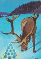 Deer With Christmas Snooker Balls Glowing Postcard